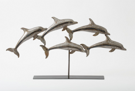 Swimming Dolphins Pod Metal Contemporary Sculpture on Stand